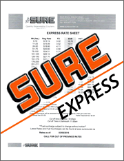 SURE Courier Express Rate Sheet