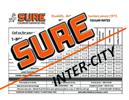 SURE Courier Inter-City Rate Sheet